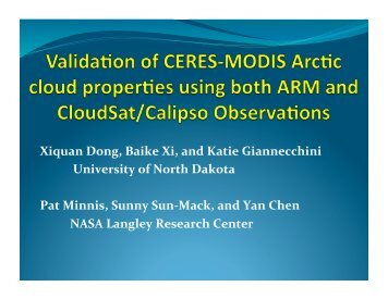 Comparison of Arctic cloud properties derived from CERES ... - NASA