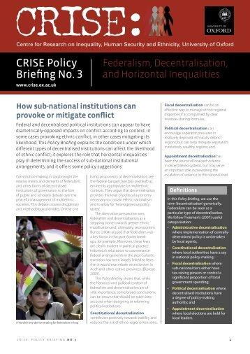 Federalism, Decentralisation and Horizontal Inequalities