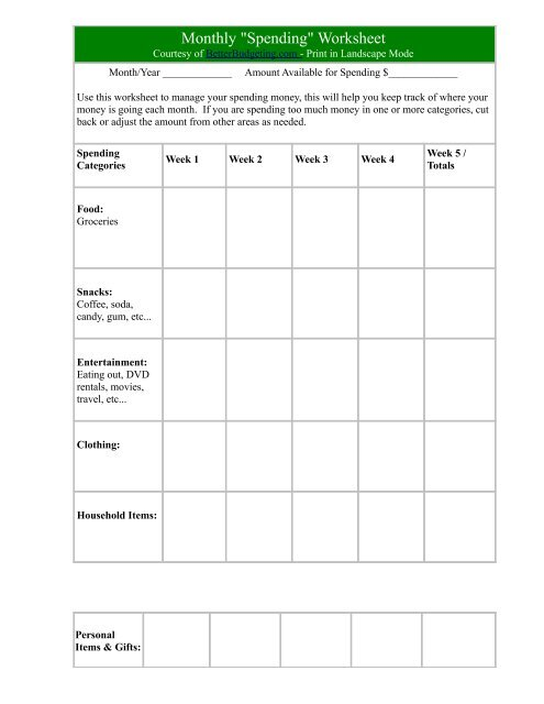 monthly household expenses worksheet