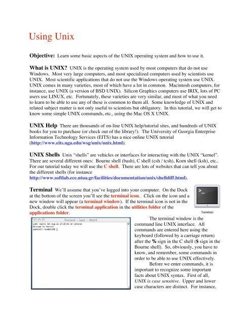 Using Unix - Genetics Computer Lab - University of Georgia