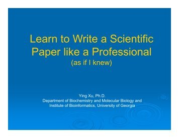 Learn to Write a Scientific Paper like a Professional - CSBL
