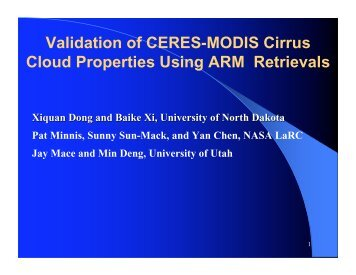 Validation of CERES-MODIS Cirrus Cloud Properties Using ... - NASA