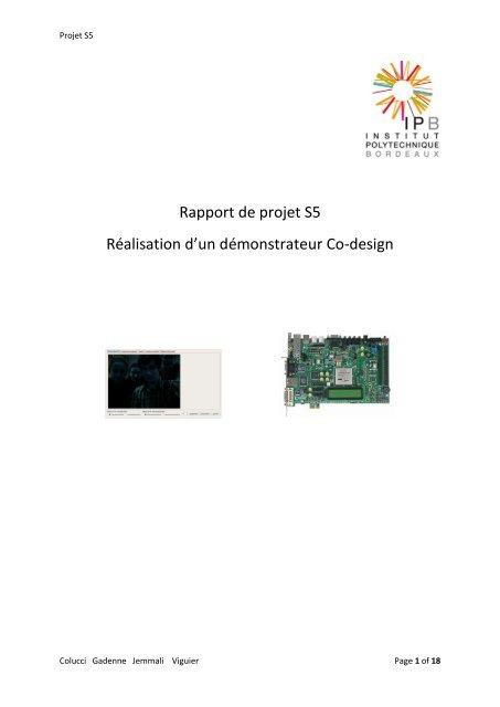 Rapport De Projet S5 Réalisation D Un Démonstrateur Co Design