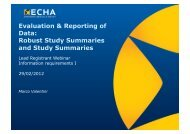 Evaluation & Reporting of Data: Robust Study Summaries ... - Europa