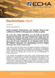 ECHA empfiehlt Unternehmen, den aktuellen Entwurf der ... - Europa