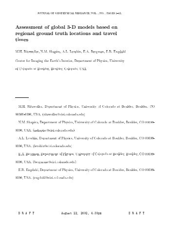 Assessment of global 3-D models based on regional ground truth ...