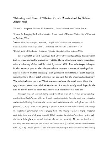 Thinning and Flow of Tibetan Crust Constrained by Seismic Anisotropy