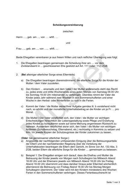 Trennungs Und Scheidungsfolgenvereinbarung Scheidung 2021 4