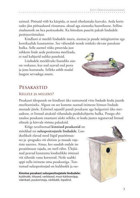 Suvised aialinnud ja nende abistamine - Eesti ornitoloogiaühing