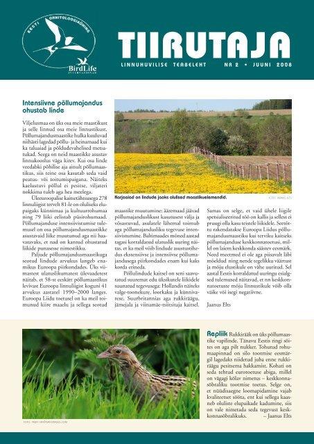Intensiivne põllumajandus ohustab linde - Eesti ornitoloogiaühing