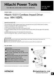 Model WH 10DFL CORDLESS IMPACT DRIVER - Hitachi