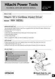 Model WH 18DSL CORDLESS IMPACT DRIVER - Hitachi