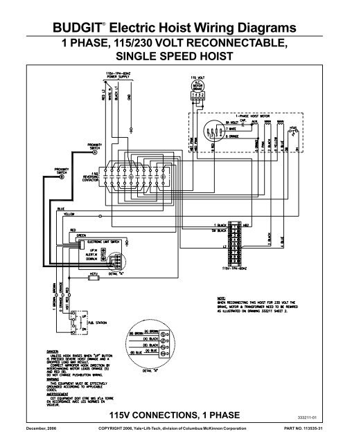 [SCHEMATICS_4US]  BUDGIT® Electric Hoist Wiring Diagrams - Hoists Direct | Budgit Hoist Wiring Schematic |  | Yumpu
