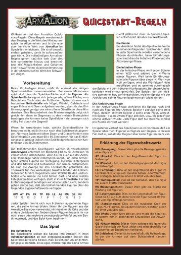 Quickstart-Regeln - Armalion-Kompendium