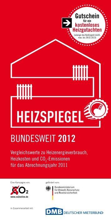 bundesweit 2012 - Heizspiegel