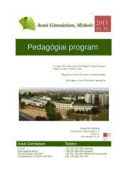 Pedagógiai program - Avasi Gimnázium