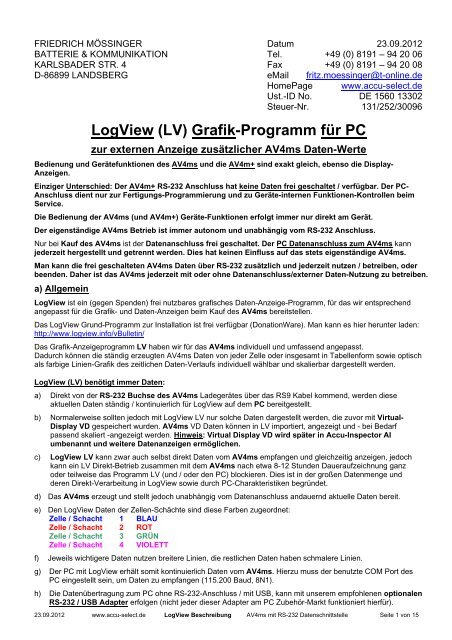 LogView (LV) Grafik-Programm für PC - Accu-Select