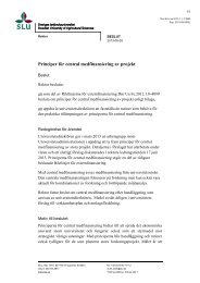 Principer för central medfinansiering av projekt - SLU