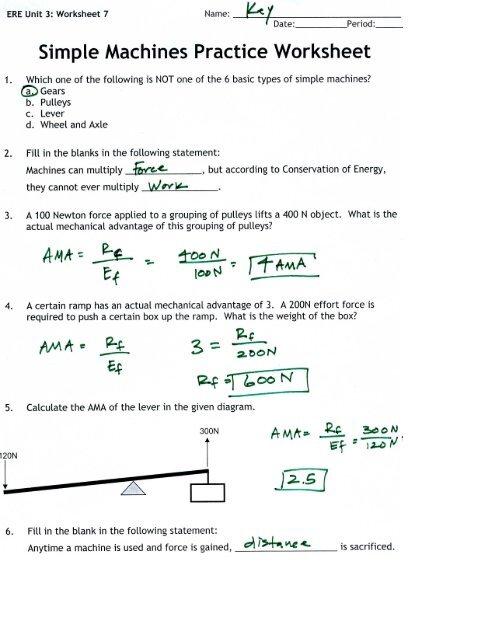 Simple Machines Practice Worksheet - Arapahoe High School