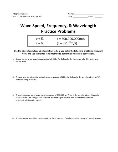 Wave Speed, Frequency, & Wavelength Practice Problems