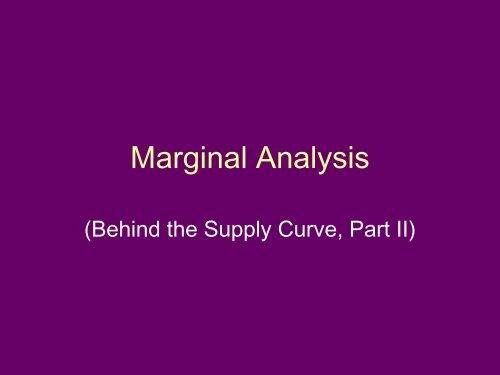 Marginal Analysis - Arapahoe High School