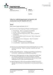 och avancerad nivå för läsåret 2013/14 - SLU