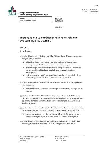 Införandet av nya områdesbehörigheter och nya ... - SLU