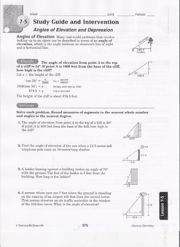 Worksheets Angle Of Elevation And Depression Worksheet angle of elevation and depression worksheet templates worksheets with answers