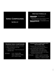 Ionic Compounds - Arapahoe High School
