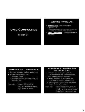 Ionic Compounds - Arapahoe High School