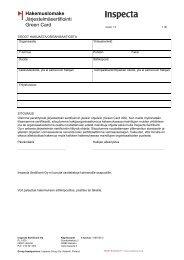 Green card hakemuslomake - Inspecta