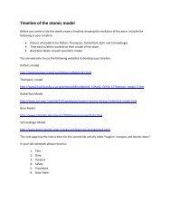 Timeline of the atomic model: - Arapahoe High School