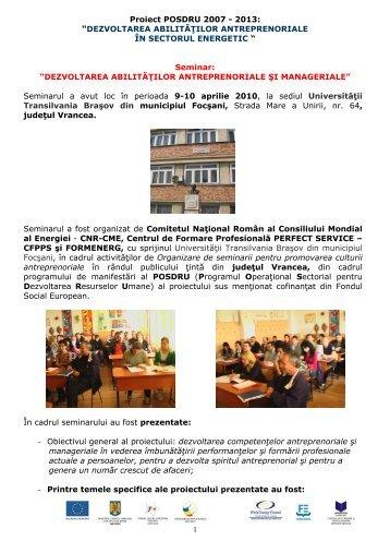 seminar Focşani aprilie 2010 - Cnr -cme