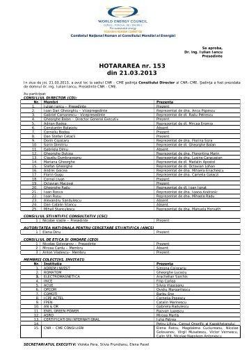 HOTARAREA nr. 153 din 21.03.2013 - Cnr -cme