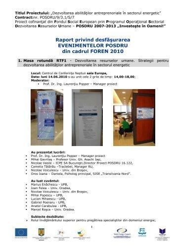 Evenimentele POSDRU din cadrul FOREN 2010 - Cnr -cme