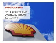 ROYAL DUTCH SHELL 2011 RESULTS AND COMPANY UPDATE ...