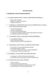 TESTNEVELÉS 1. Középszintű szóbeli érettségi témakörök 1. Az ...
