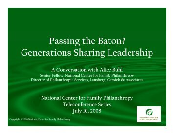 Generations Sharing Leadership - Council on Foundations