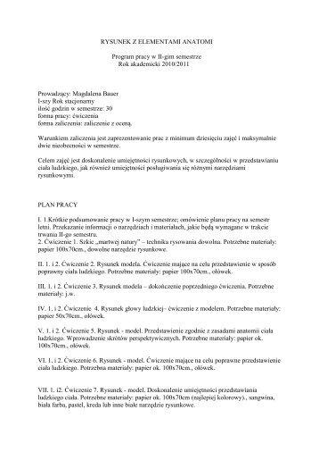 RYSUNEK Z ELEMENTAMI ANATOMI I Rok semestr II tryb stacjonarny