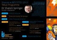 Dr Shalom Springer - Borehamwood and Elstree Synagogue