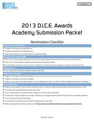 Submissions Form - the Academy Of Interactive Arts & Sciences