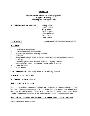 MINUTES City of Milton Board of Zoning Appeals Regular Meeting ...