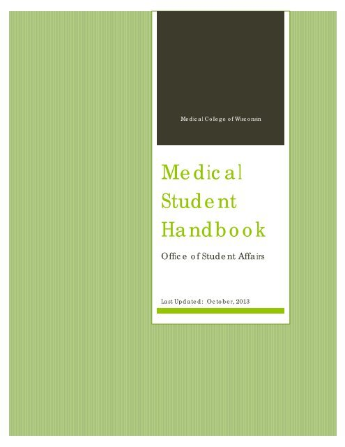 MCW Medical Student Handbook - Medical College of Wisconsin