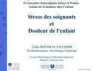 Stress des soignants et douleur de l'enfant, C. Rousseau-Salvador ...