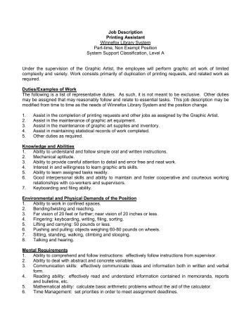 job description for library assistant