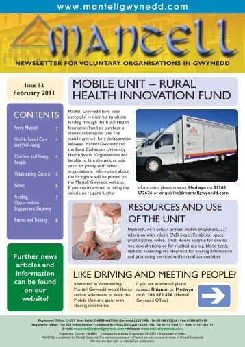 mobile unit – rural health innovation fund - Mantell Gwynedd