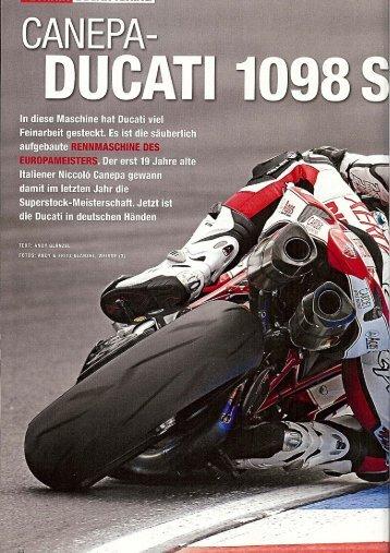 Bericht Canepa Ducati 1098 S verkauft von Fa - ioannoni corse