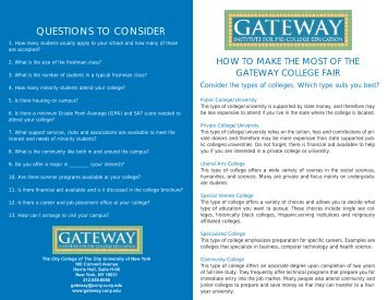 QUESTIONS TO CONSIDER - Gateway Institute for Pre-College ...