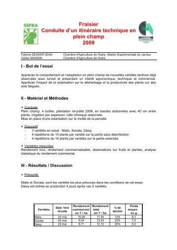 Fraisier Conduite d'un itinéraire technique en plein champ 2009
