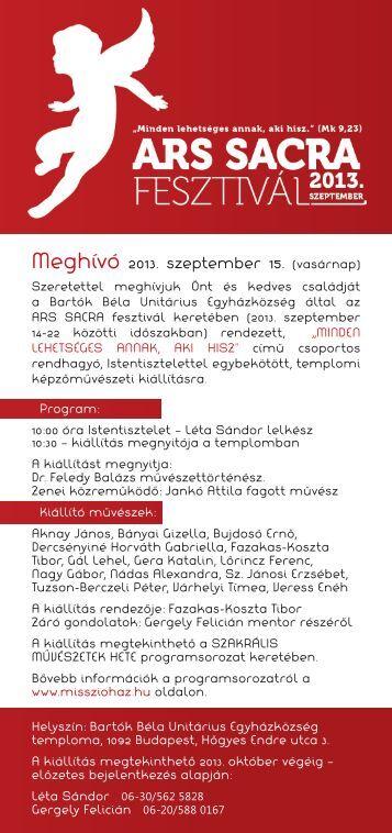 A meghívó letöltése PDF formátumban - Bartók Béla Unitárius ...
